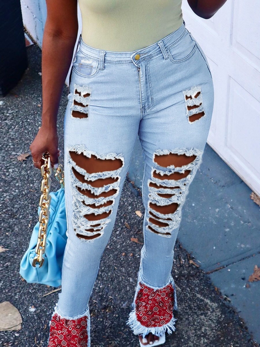 LW Street Print Ripped Flared Baby Blue Jeans