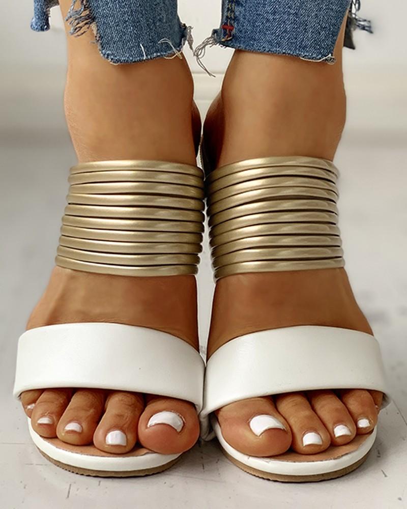 Lovely Casual Bandage Design White Slippers