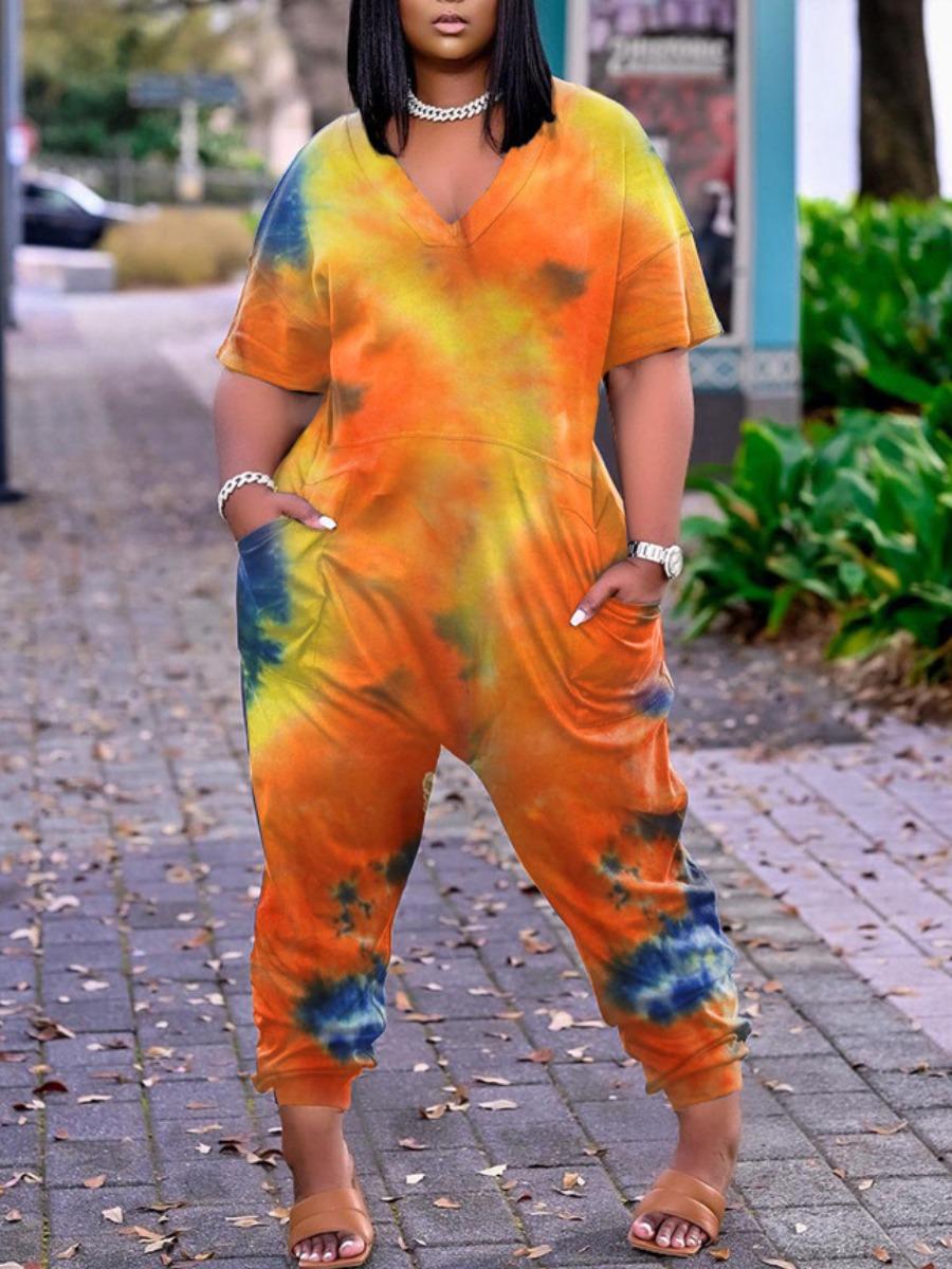 Lovely Street Dropped Shoulder Tie-dye Orange Plus Size One-piece Jumpsuit