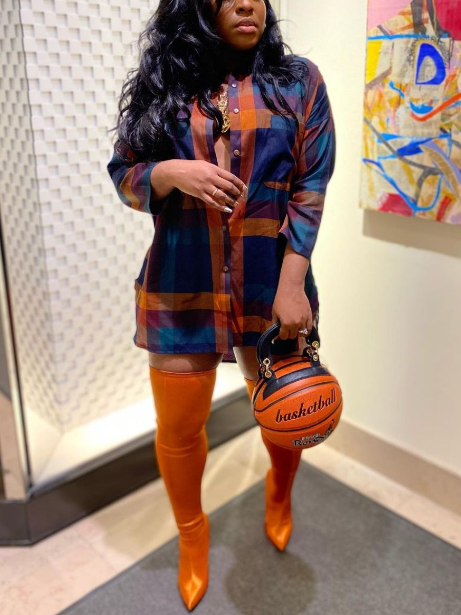 Lovely Casual Turndown Collar Plaid Print Multicolor Blouse