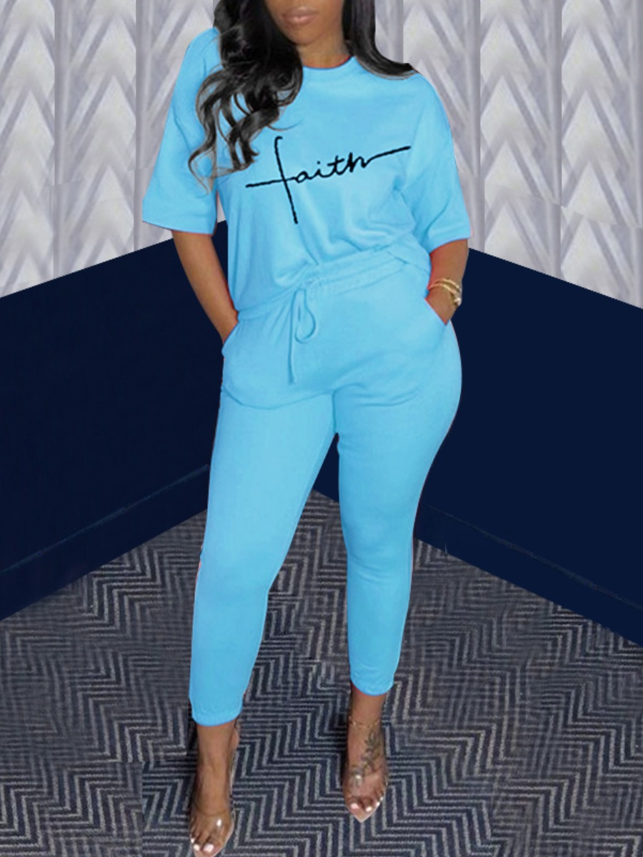 Lovely Casual Letter Print Drawstring Blue Two Piece Pants Set