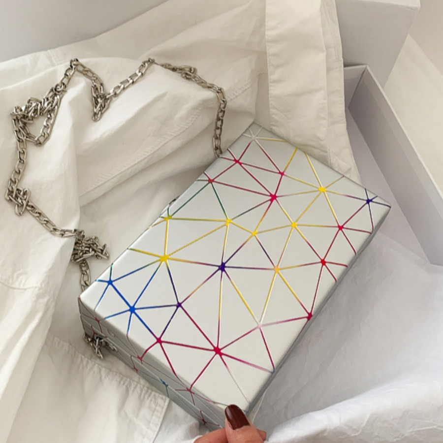 Lovely Casual Geometric Print Silver Crossbody Bags