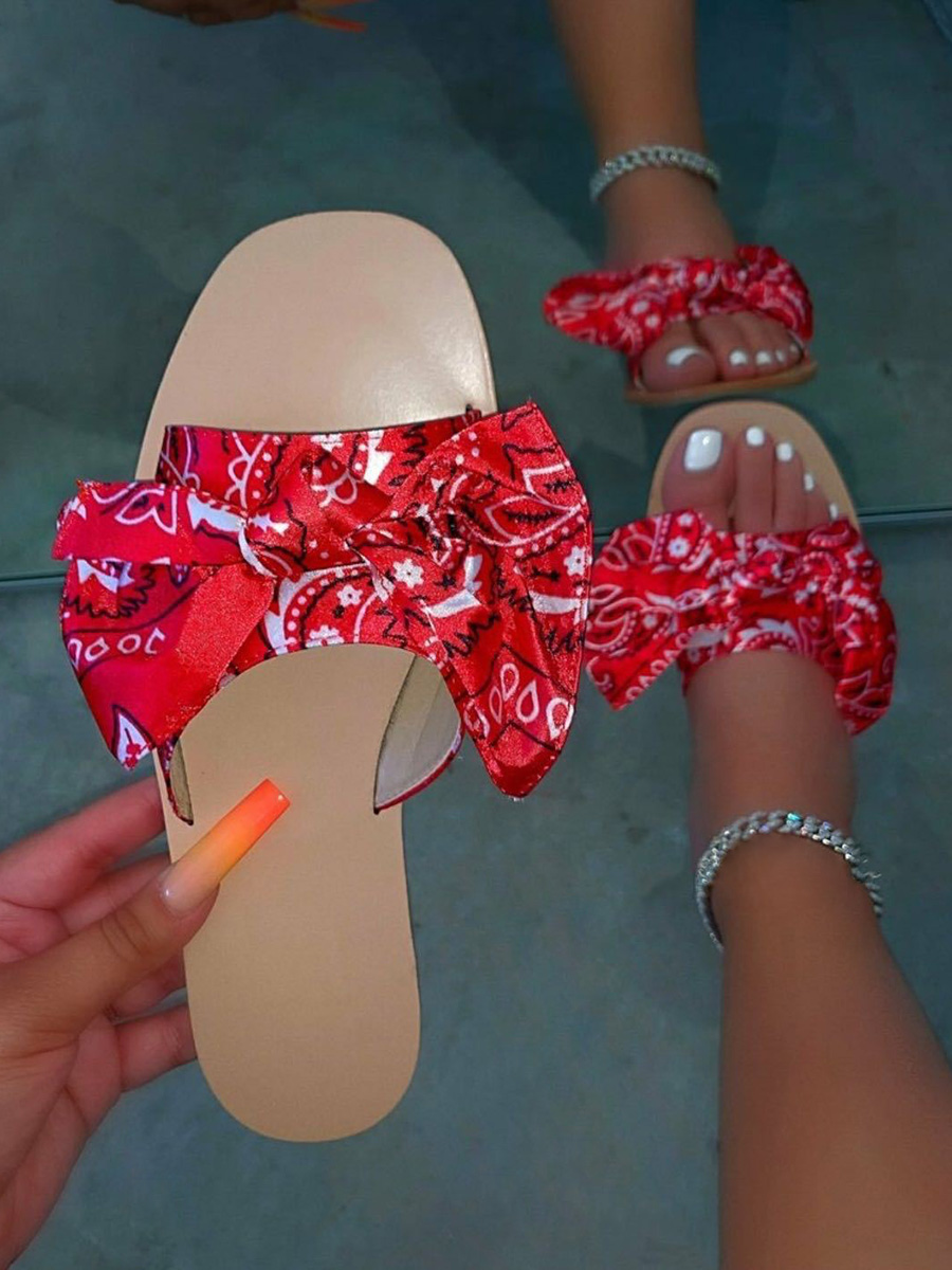 Lovely Casual Bow-tie Decoration Red Slippers