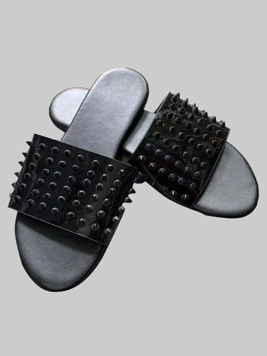 LW Casual Rivet Decoration Black Slippers