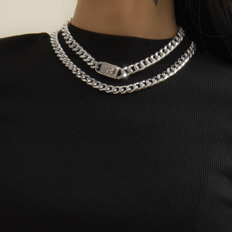 LW Casual Hollow-out Silver Double-layer Necklace