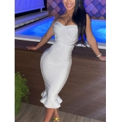 Lovely Sexy Off The Shoulder Flounce Design White Mid Calf Evening Dress