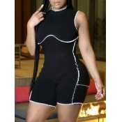 Lovely Street O Neck Striped Black One-piece Romper