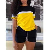Lovely Sporty Drawstring Patchwork Yellow Two Piece Shorts Set