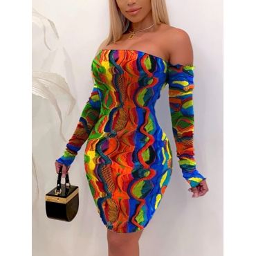 LW SXY Plus Size Off The Shoulder Mixed Print Bodycon Dress