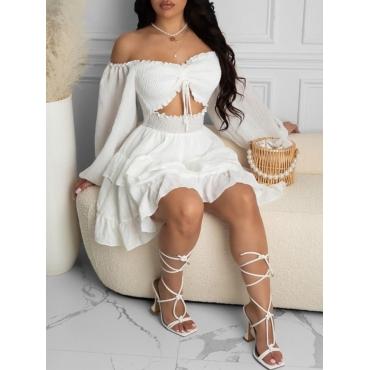 LW Elegant Layered Flounce Design Hollow-out White Mini A Line Dress