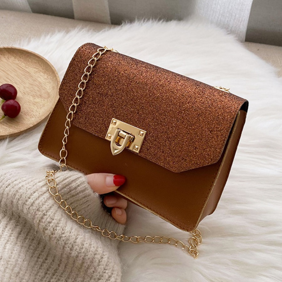 Lovely Casual Sequined Chain Strap Brown Crossbody Bag, lovely, Messenger Bag&Crossbody Bag  - buy with discount