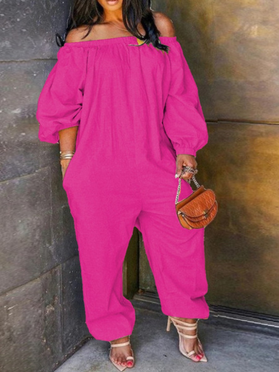 Lovely Leisure Off The Shoulder Loose Pink Plus Size One-piece Jumpsuit