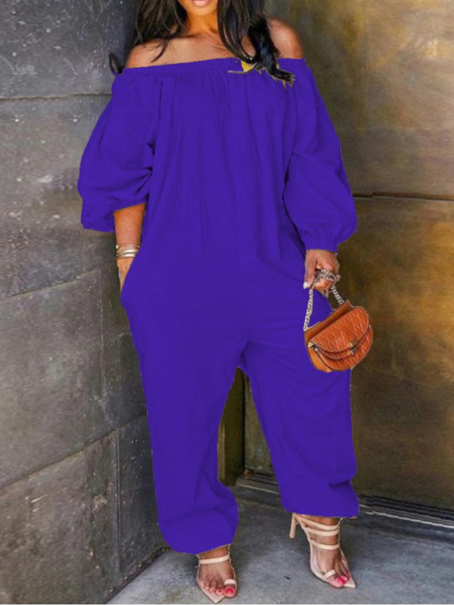 Lovely Leisure Off The Shoulder Loose Blue Plus Size One-piece Jumpsuit