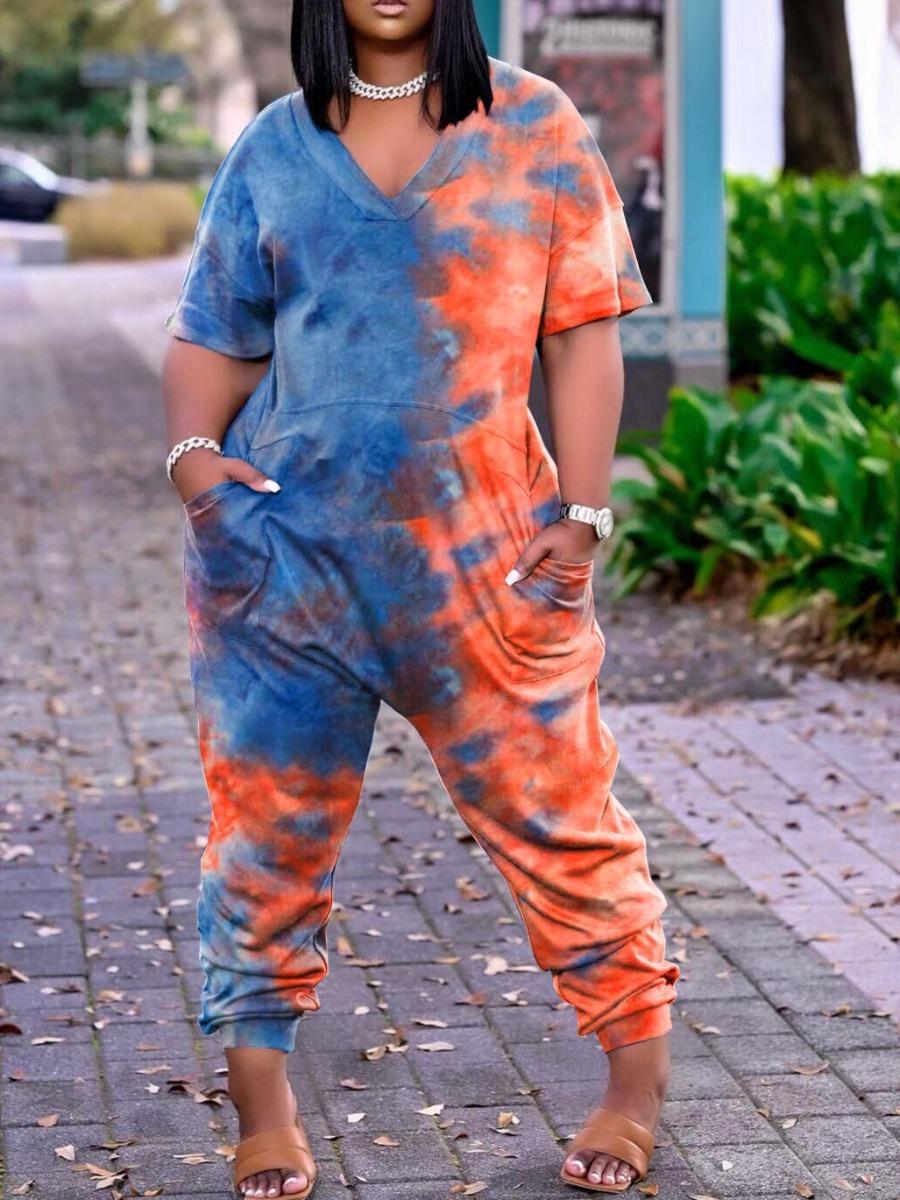 Lovely Street Dropped Shoulder Tie-dye Blue Plus Size One-piece Jumpsuit