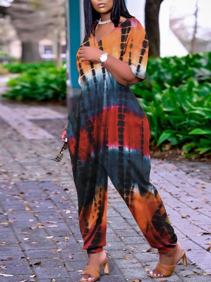 Lovely Street Dropped Shoulder Tie-dye Orange One-piece Jumpsuit