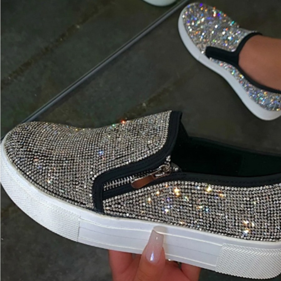 Lovely Street Sequined Zipper Design Black Platform Shoes