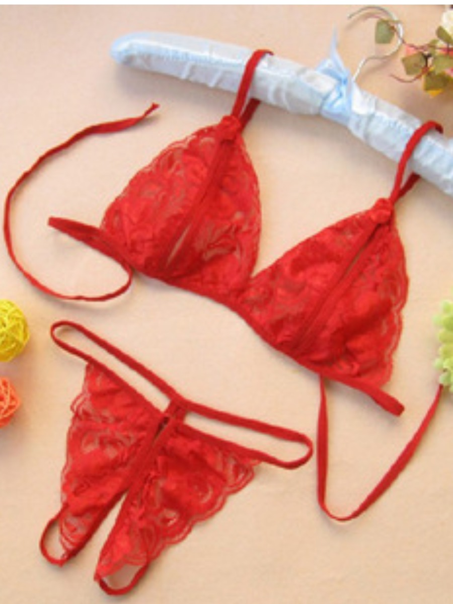 LW SXY See-through Bandage Design Red Bra Set
