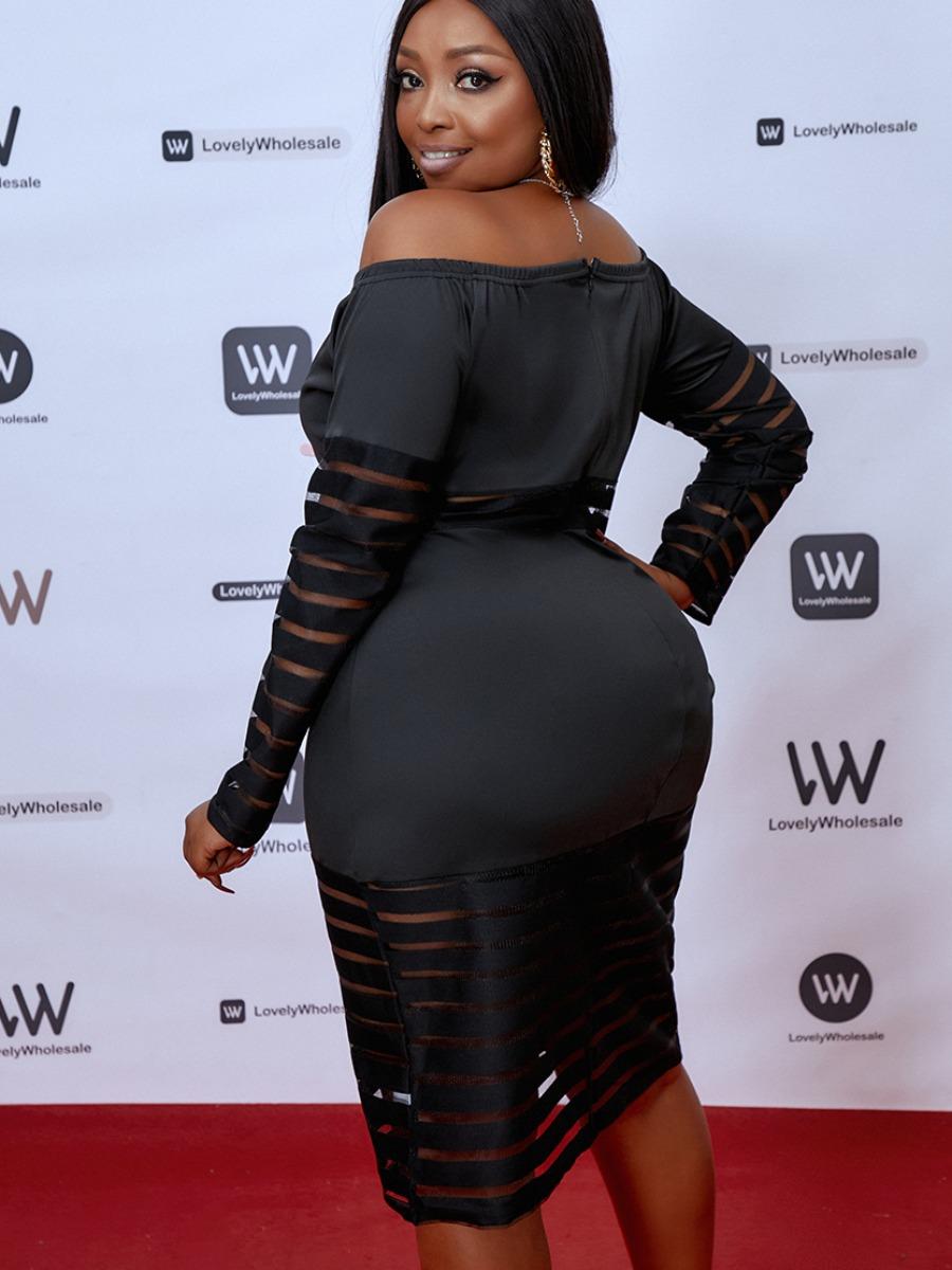 Lovely Elegant Off The Shoulder Mesh Patchwork Black Knee Length Plus Size Dress