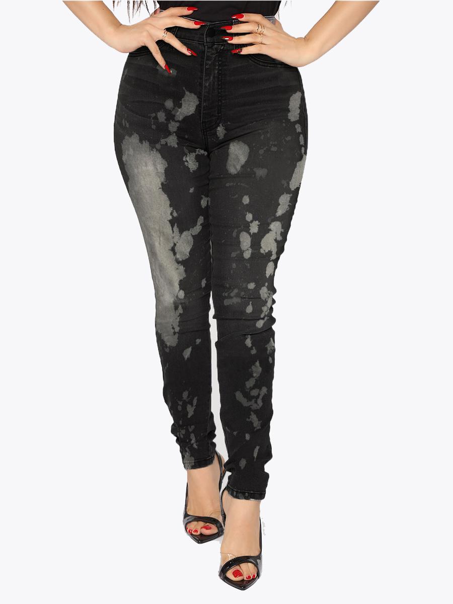 LW High-waisted Pocket Design Splash-ink Jeans