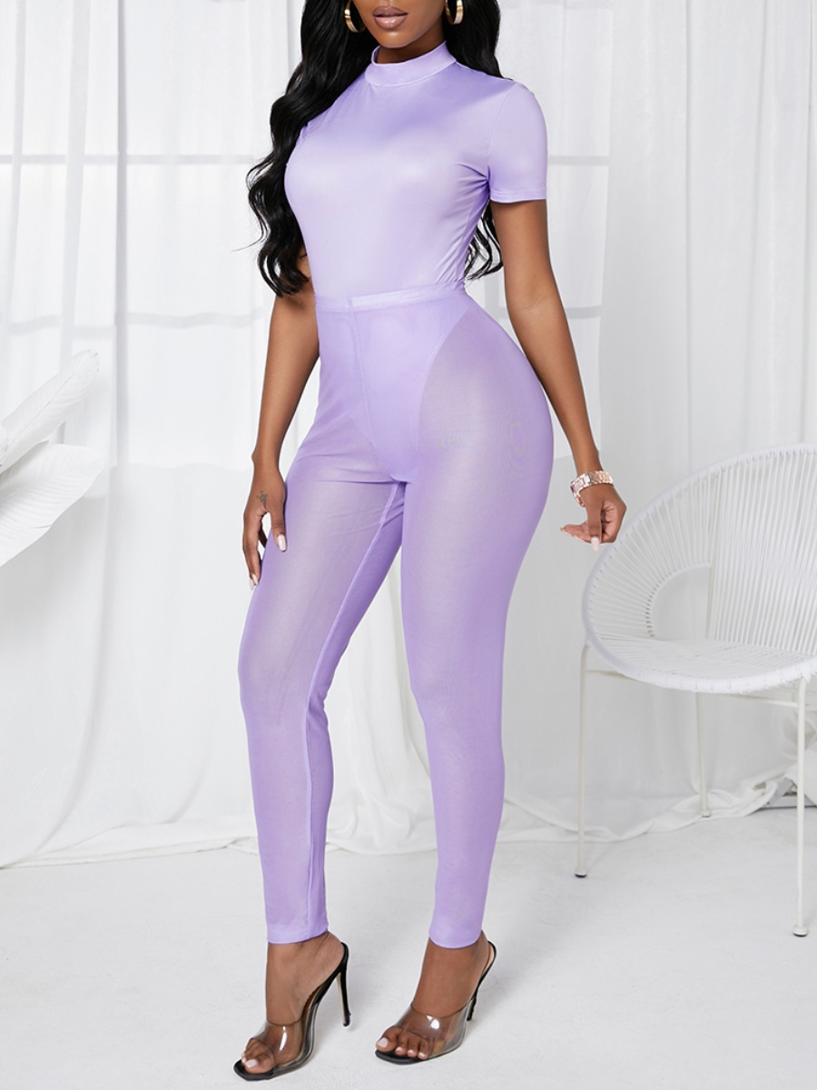 LW Casual Half A Turtleneck See-through Purple Two Piece Pants Set