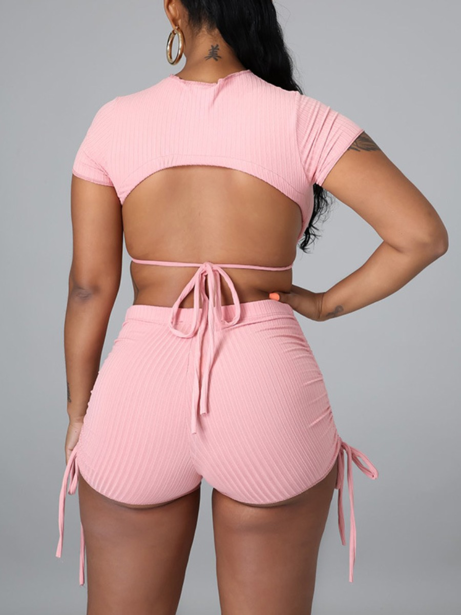 Lovely Sexy Backless Rib-Knit Drawstring Pink Two Piece Shorts Set