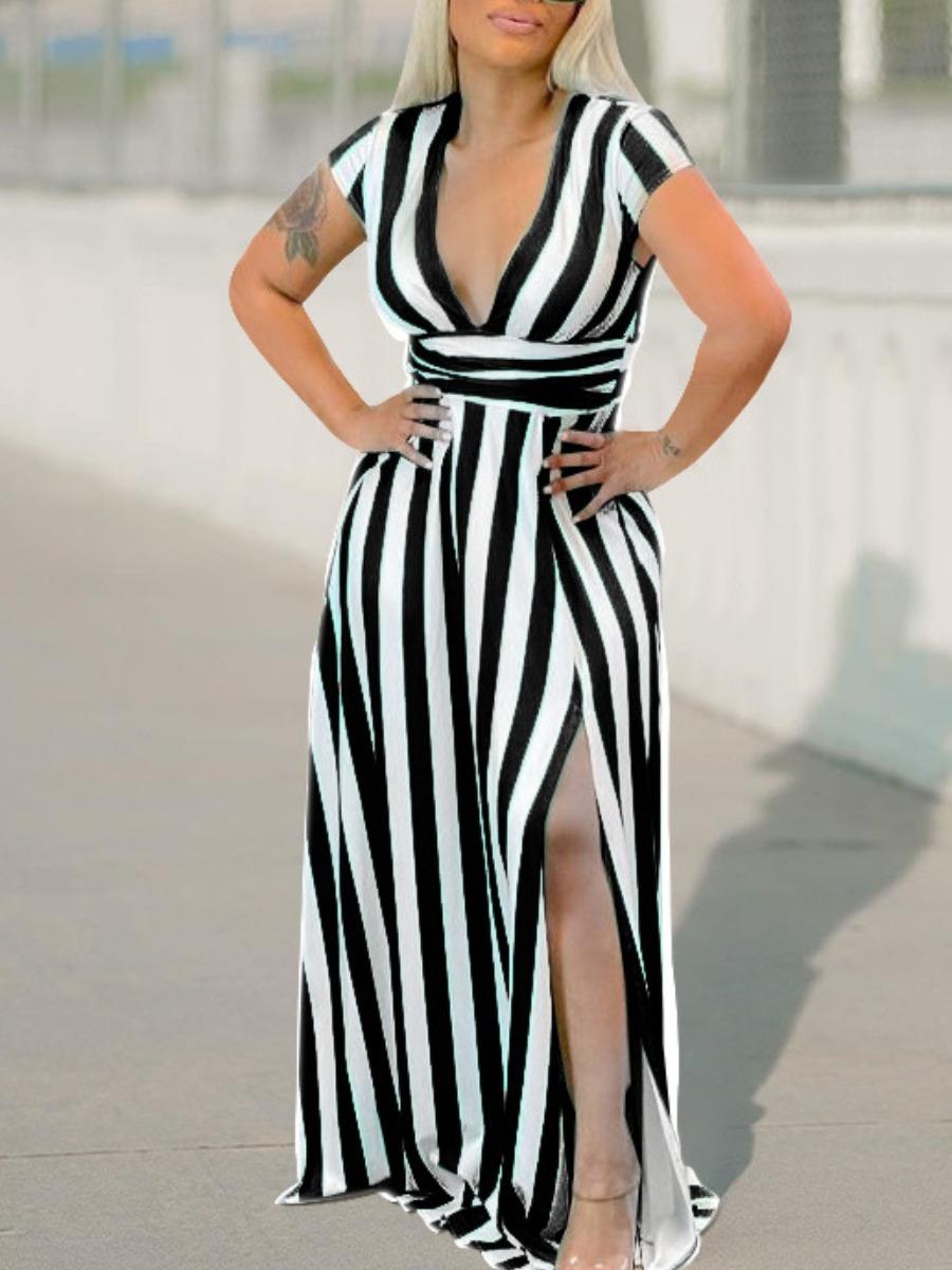 Lovely Boho Striped Split Black Floor Length Plus Size Dress