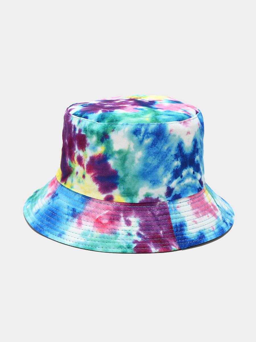 LW COTTON Casual Tie-dye Blue Hat