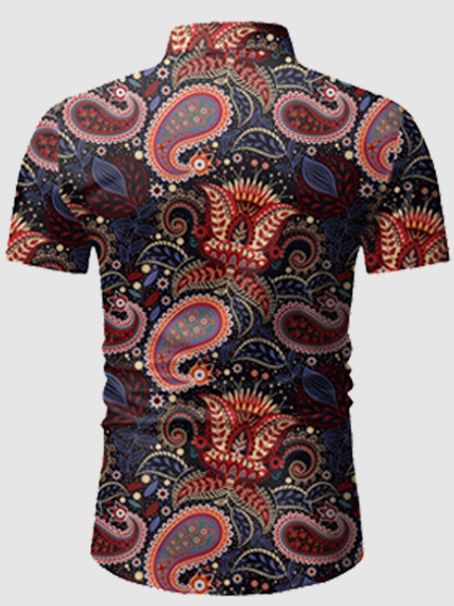 Lovely Men Boho Cashew Print Drawstring Multicolor Two Piece Shorts Set