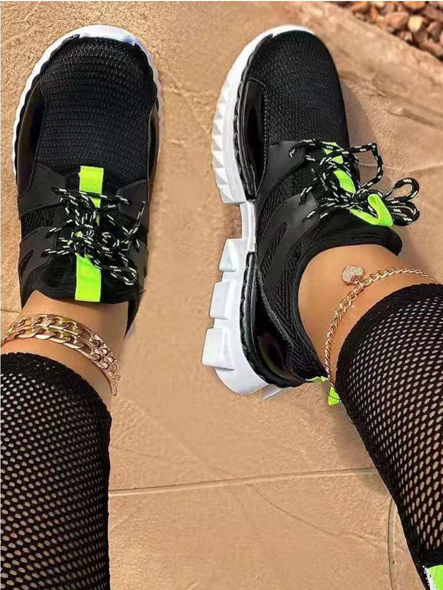 Lovely Sporty Lace-up Black Sneakers