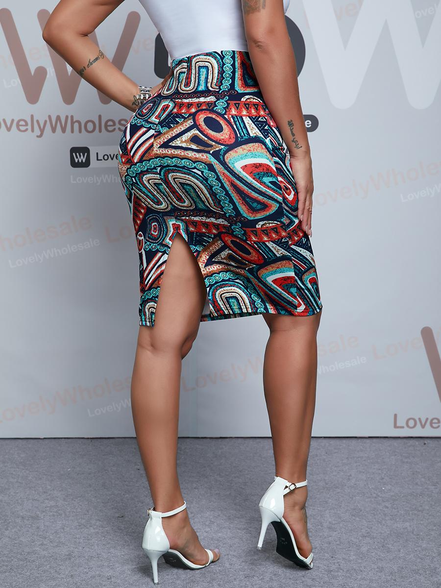 Lovely Boho High-waisted Geometric Print Multicolor Knee Length Skirt