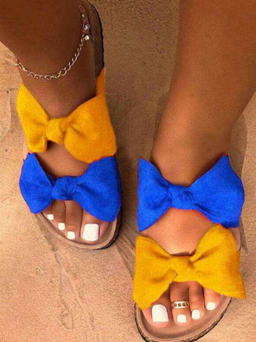 LW Casual Bow-tie Decoration Yellow Slippers