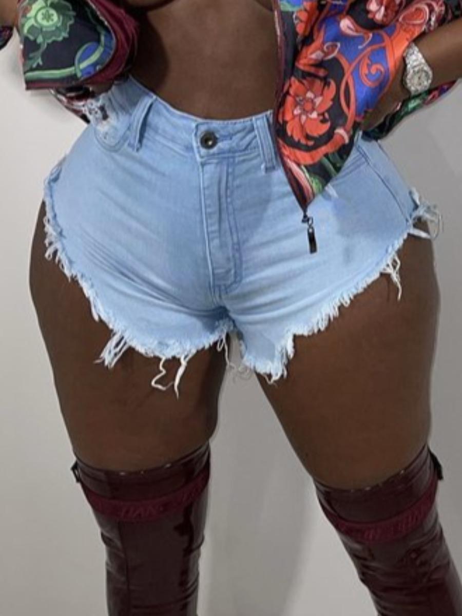 LW Plus Size Casual High-waisted Raw Edge Baby Blue Denim Shorts