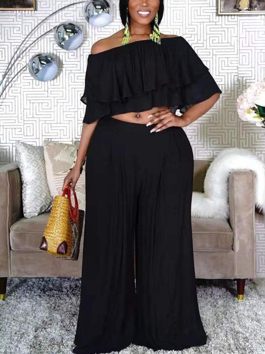 Lovelywholesale coupon: LW Plus Size Casual Fold-over Flounce Design Black Two-piece Pants Set