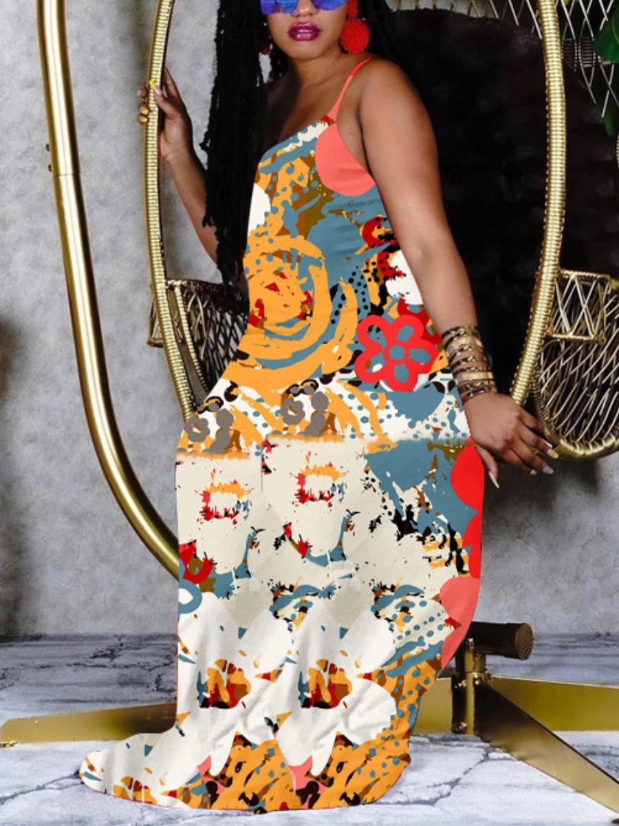 LW BASICS Boho Graffiti Print Multicolor Floor Length Dress