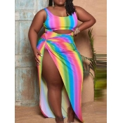 Lovely Boho Rainbow Stripe Hollow-out Multicolor Plus Size One-piece Swimsuit(With Cover-up)