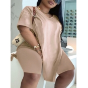 Lovely Casual V Neck Split Khaki Plus Size Two-piece Shorts Set
