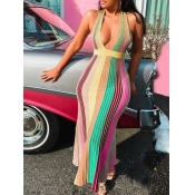 Lovely Sweet Backless Striped Pleated Multicolor Ankle Length Dress