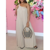 Lovely Casual One Shoulder Loose Beige One-piece Jumpsuit