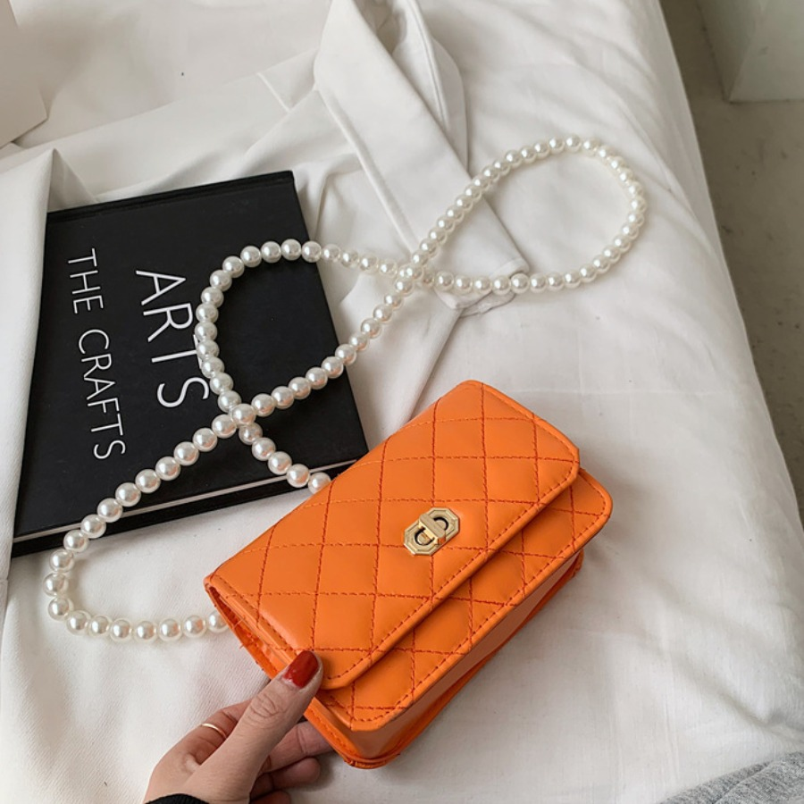 Lovely Casual Pearl Decoration Croci Crossbody Bags