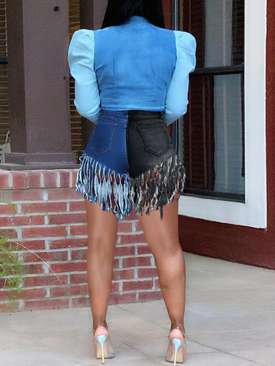 LW Casual Color-lump Tassel Design Black Denim Shorts
