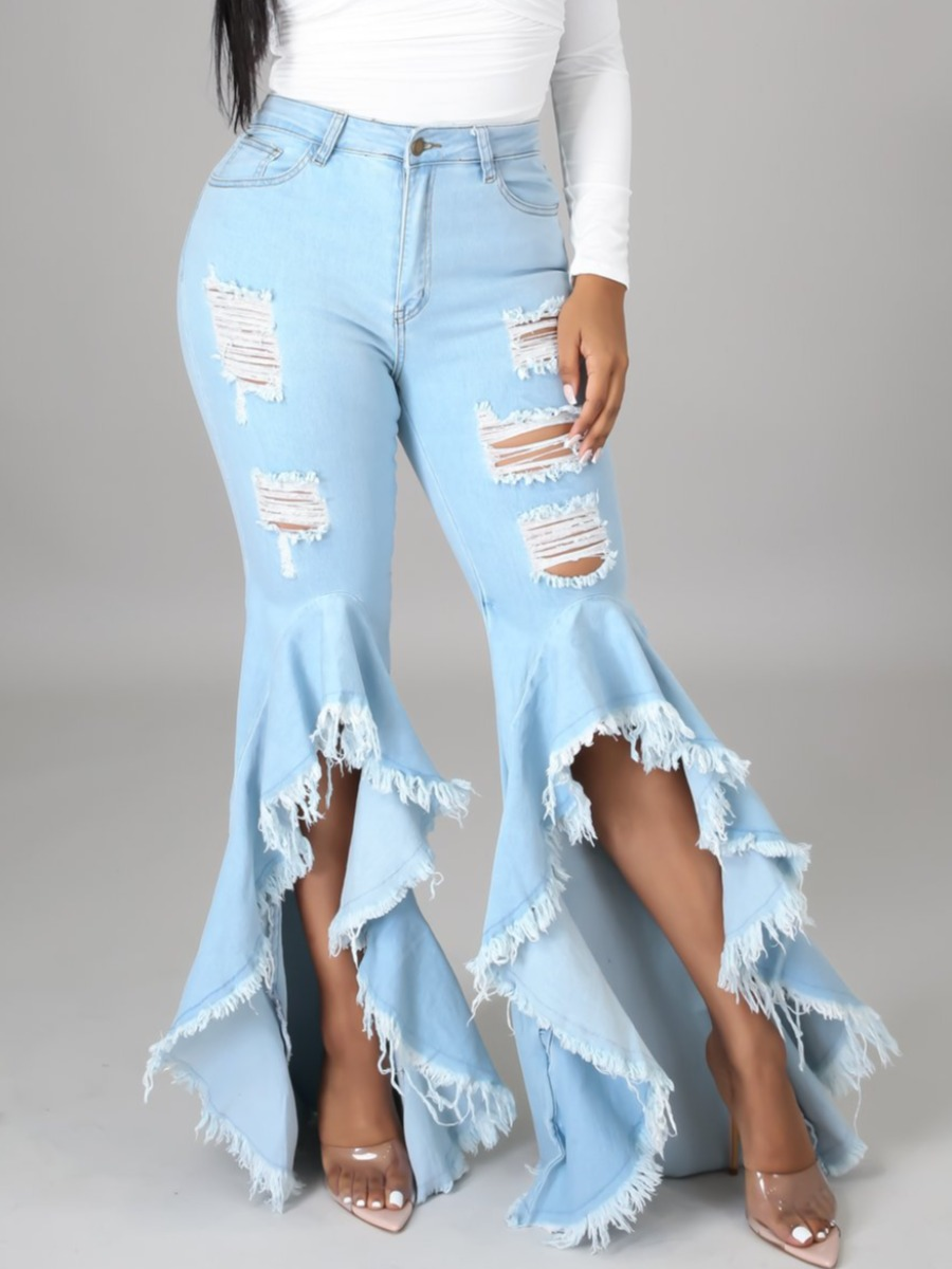 LW Sweet Ripped Flared Flounce Design Baby Blue Jeans