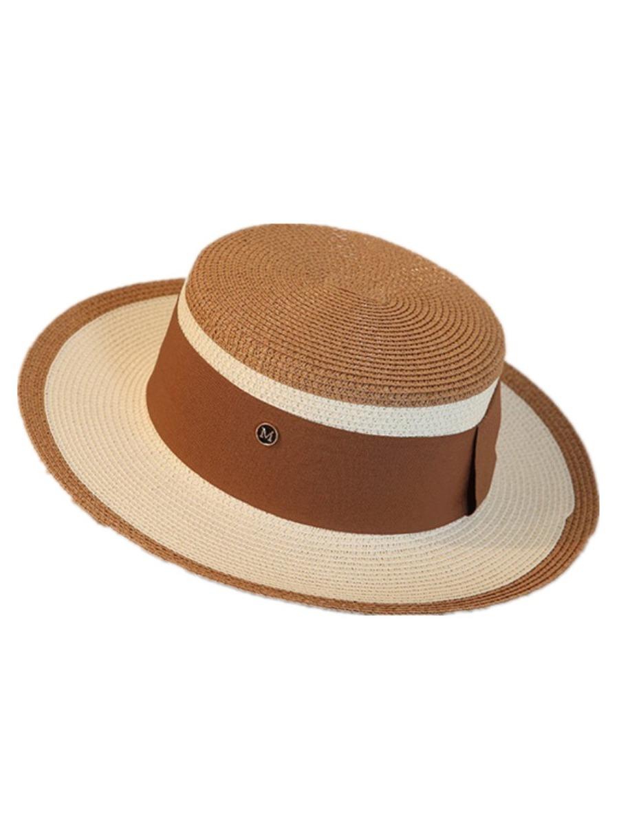 LW Casual Flat Top Straw Khaki Hat