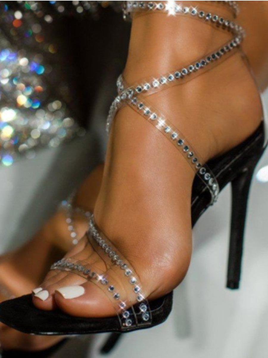 LW Sequined Tie Leg Black Heels