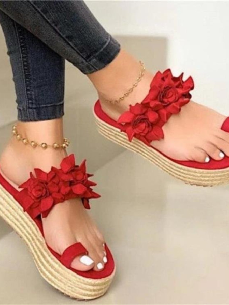 Lovelywholesale coupon: LW Casual Floral Decoration Red Platform Shoes