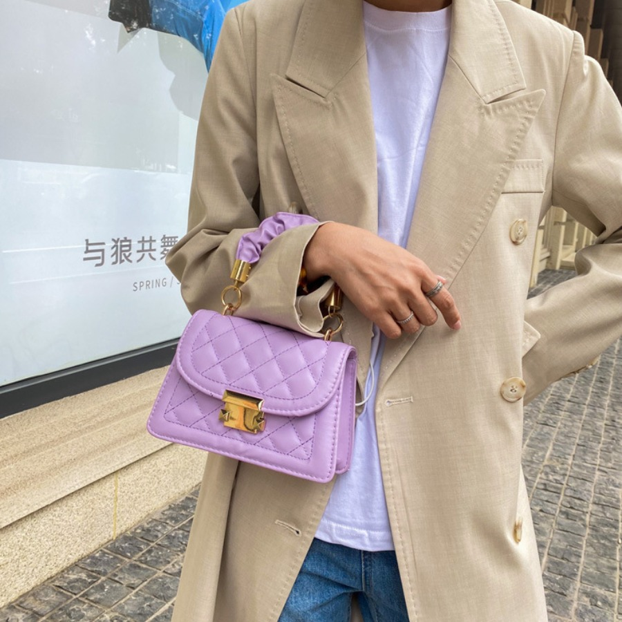 LW BASICS Casual Quilted Slide Purple Clutch Bag