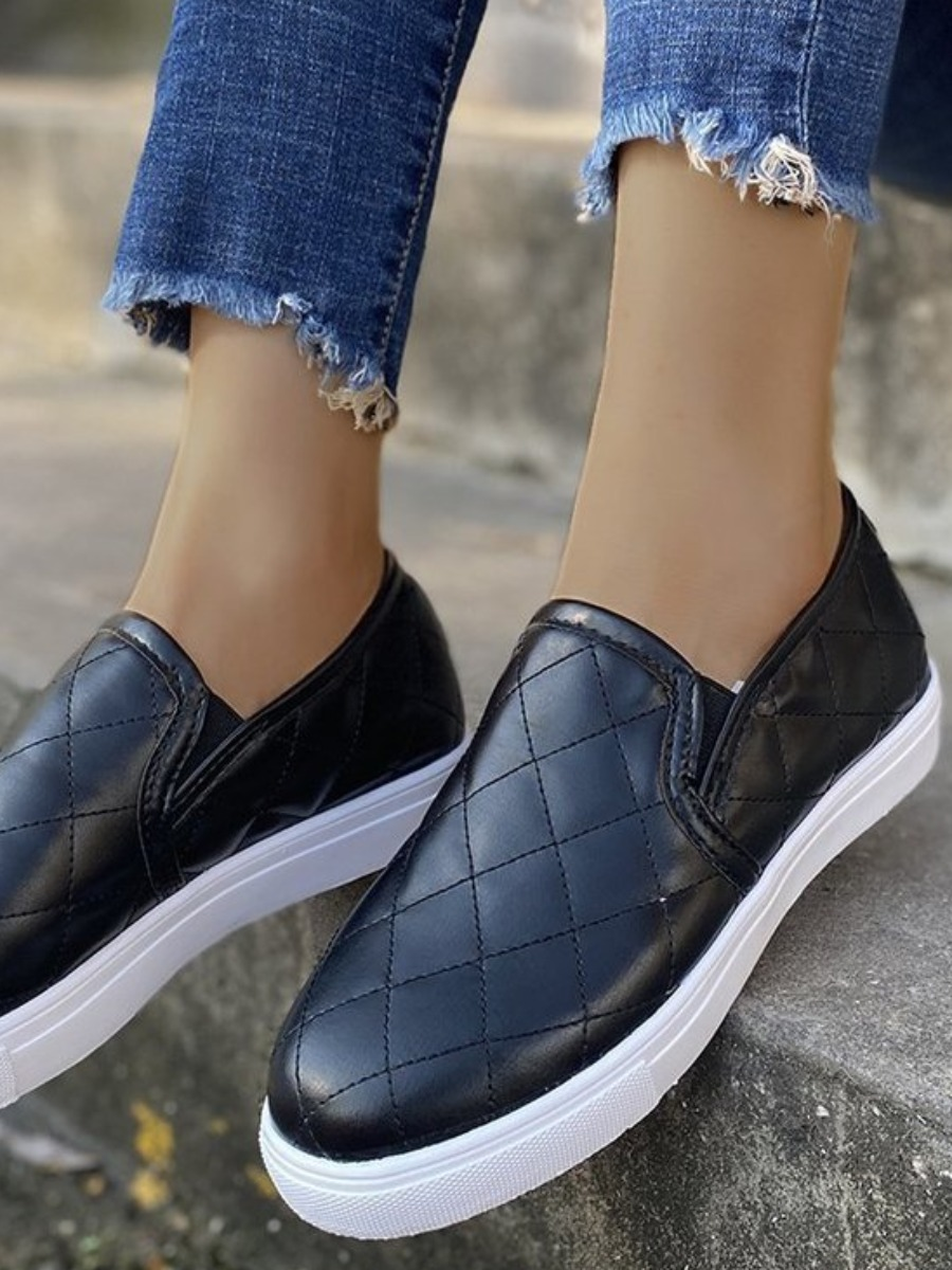 Lovely Casual Plaid Pattern Black Flats, lovely  - buy with discount