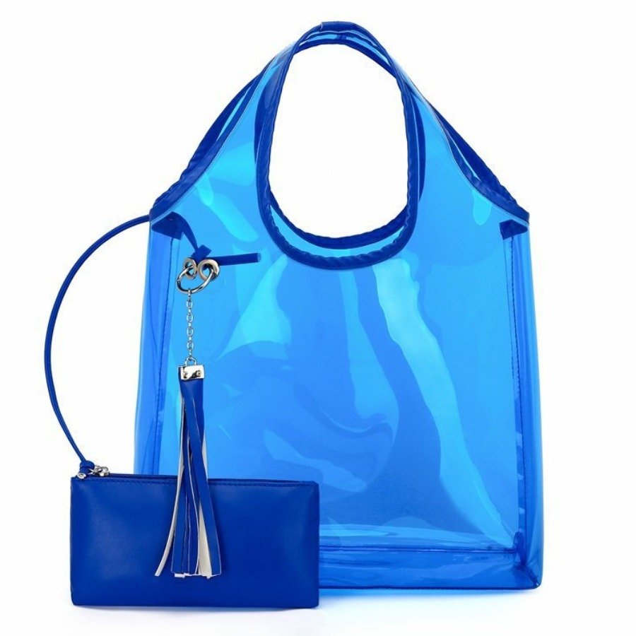 Lovely Casual See-through Blue Clutch Bag