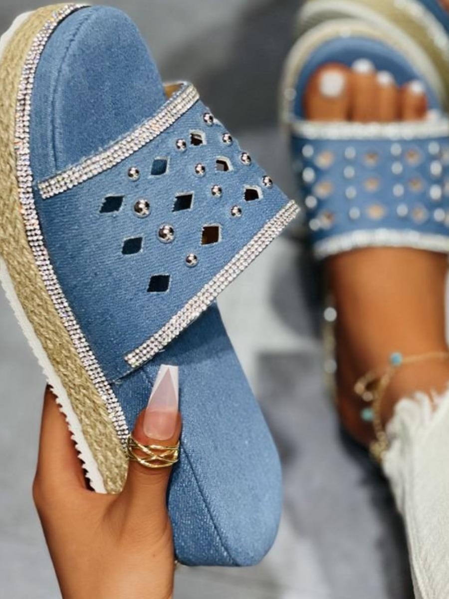 LW Casual Hollow-out Blue Platform Shoes