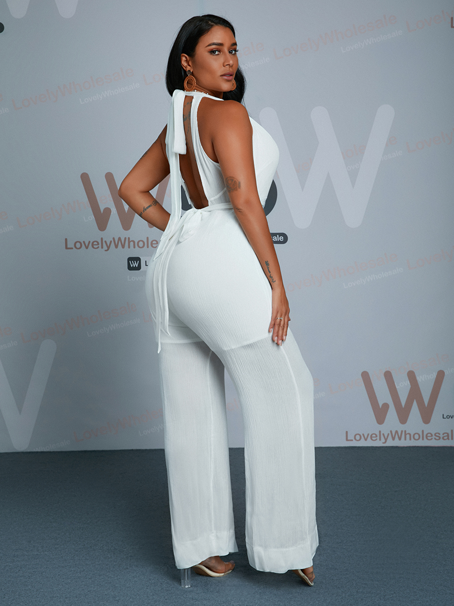 Lovely Sweet Backless Bandage Design White One-piece Jumpsuit