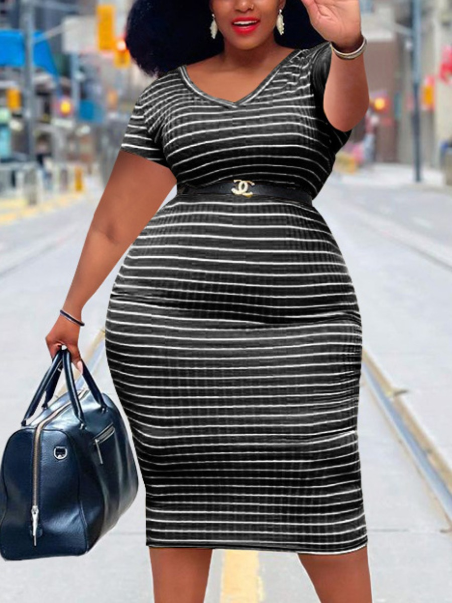 Lovely Plus Size Casual V Neck Striped Black Mid Calf Dress (Without Belt), lovely, Plus Size Dress  - buy with discount